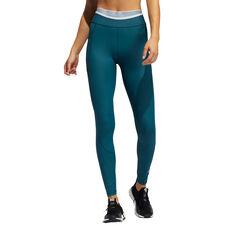 adidas Womens TechFit Long Tights Blue XS, Blue, rebel_hi-res