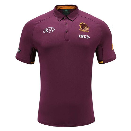 Brisbane Broncos 2020 Kids Performance Polo, Maroon, rebel_hi-res