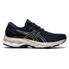 Asics GEL Kayano 27 Womens Running Shoes Blue/Brown US 6, Blue/Brown, rebel_hi-res