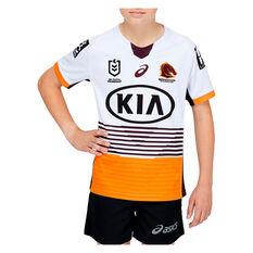Brisbane Broncos 2021 Kids Away Jersey White 8, White, rebel_hi-res