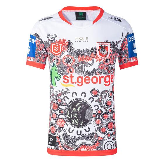 St George Illawarra Dragons 2021 Kids Indigenous Jersey, White/Red, rebel_hi-res