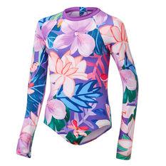 Tahwalhi Girls Hyper Floral Long Sleeve Rash Vest Purple 8, Purple, rebel_hi-res