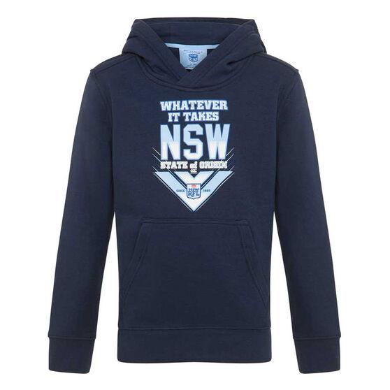 NSW Blues State of Origin 2020 Kids Whatever It Takes Hoodie, Navy, rebel_hi-res