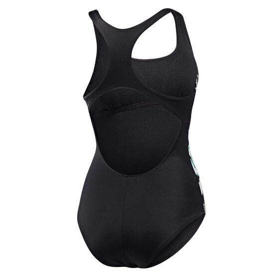 Roxy Womens Fitness Tech One Piece Swim Suit, Black / Print, rebel_hi-res