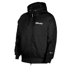 Nike Air Mens Fleece Full Zip Hoodie Black XS, Black, rebel_hi-res