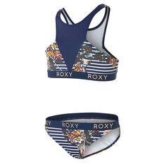Roxy Girls Keep In Flow Crop Top Set Blue 8, Blue, rebel_hi-res