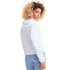 Puma Womens Essentials Cropped Hoodie, White, rebel_hi-res