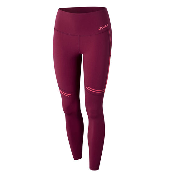2XU Womens Fitness High Rise Mesh Compression Tights Pink XS, Pink, rebel_hi-res