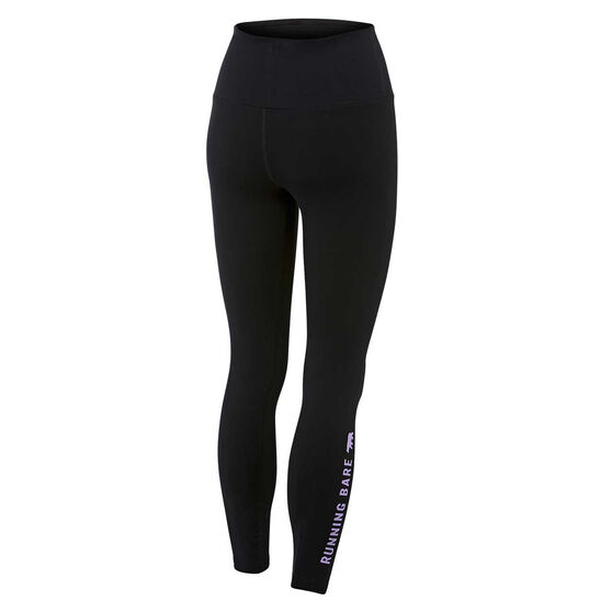 Running Bare Womens Ab Waisted What WOTS Full Length Tights, Black, rebel_hi-res