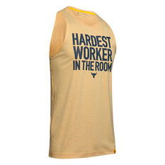 Under Armour Mens Project Rock Cut Off Tee Yellow S, Yellow, rebel_hi-res