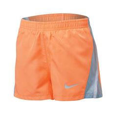 Nike Girls Dry 10k Shorts Orange 4, Orange, rebel_hi-res