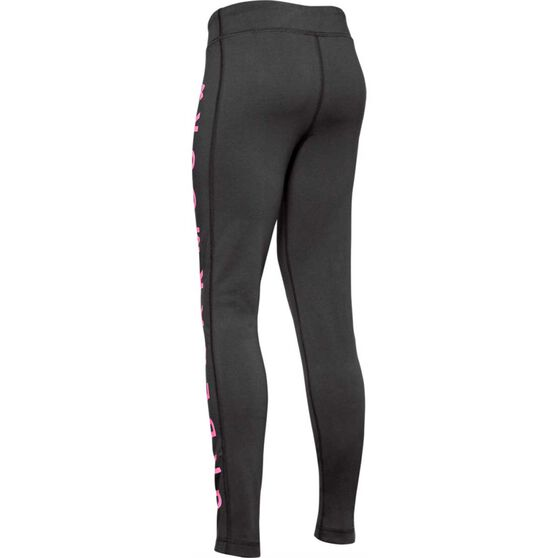 Under Armour Girls Sportstyle Branded Tights, Grey / Pink, rebel_hi-res