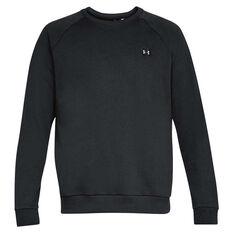 Under Armour Mens Rival Fleece Crew Sweater, Black, rebel_hi-res