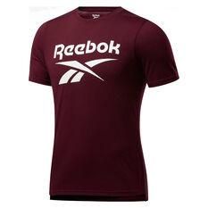 Reebok Mens Workout Ready Supremium Graphic Tee Maroon S, Maroon, rebel_hi-res