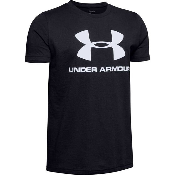 Under Armour Boys Sportstyle Logo Tee Black / White M, Black / White, rebel_hi-res
