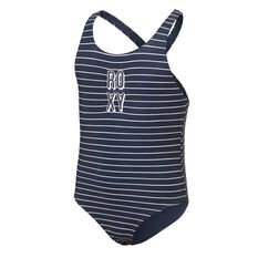 Roxy Girls Shore Sporty One Piece Swimsuit Blue 8, Blue, rebel_hi-res