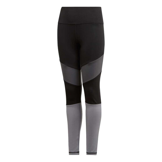 adidas Girls Bold High Rise Tights Black / Grey 14, Black / Grey, rebel_hi-res