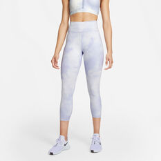 Nike Womens One Icon Clash Mid-Rise Crop Tights Blue XS, Blue, rebel_hi-res
