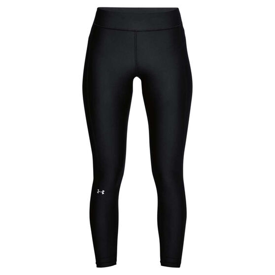 Under Armour Womens HeatGear Ankle Crop Tights, Black / Silver, rebel_hi-res