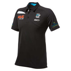 Port Power 2019 Mens Media Polo Black S, Black, rebel_hi-res