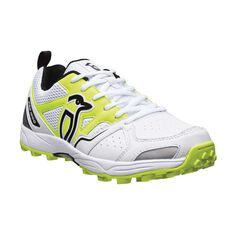 Kookaburra Pro 1000 Rubber Junior Cricket Shoes White / Yellow US 3, White / Yellow, rebel_hi-res