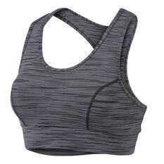 Running Bare Womens No Bounce Long Line Sports Bra Black 8, Black, rebel_hi-res