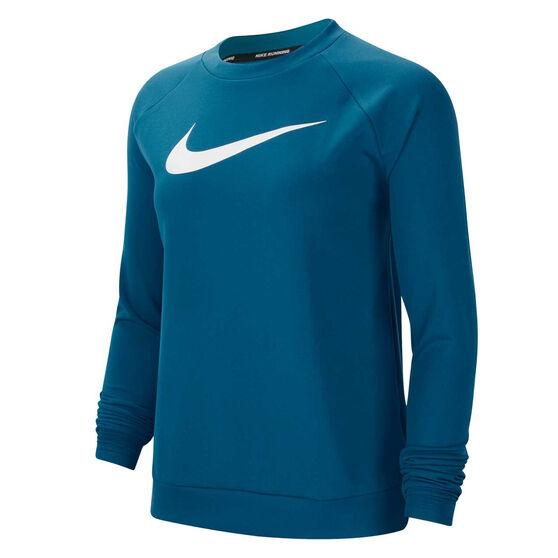 Nike Womens Swoosh Run Crew Top, Green, rebel_hi-res