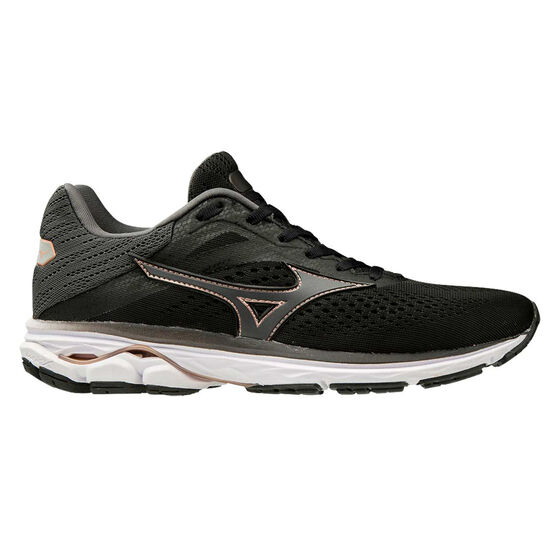 Mizuno Wave Rider 23 Womens Running Shoes, Black / White, rebel_hi-res