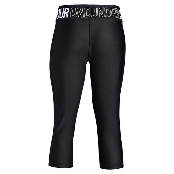 Under Armour Girls HeatGear Armour Capri Tights, Black / White, rebel_hi-res