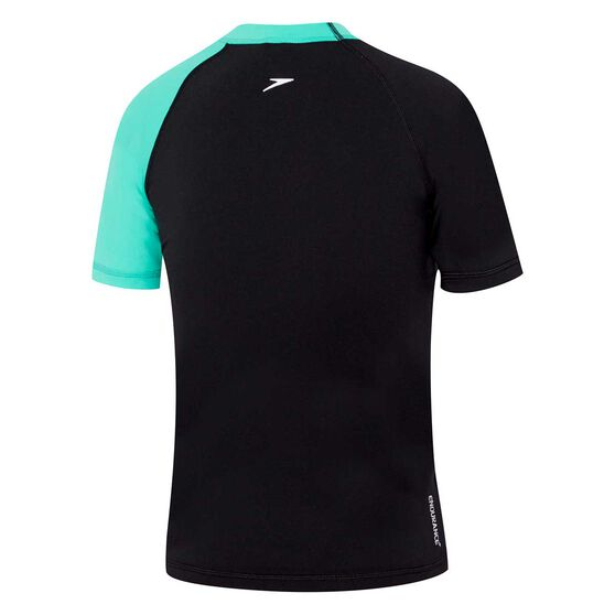 Speedo Boys Dissect Short Sleeve Rash Vest, Black / Green, rebel_hi-res