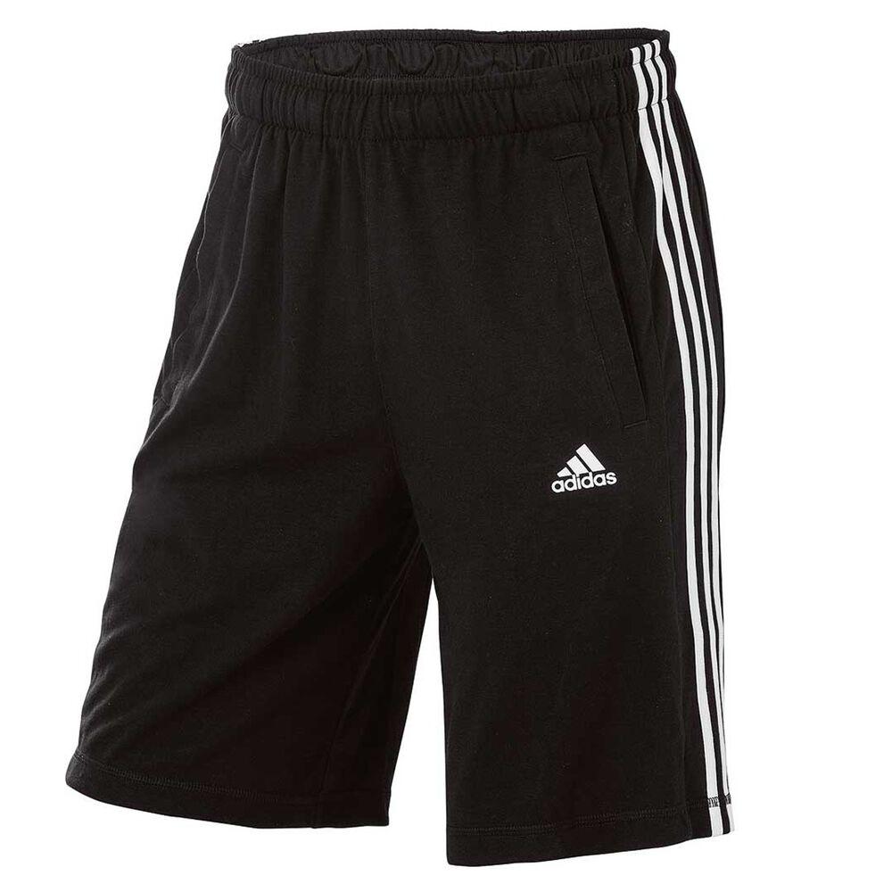 8c054f9aad2e adidas Mens Essential 3 Stripe Knit Shorts Black   White S Adult ...