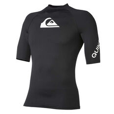 Quiksilver Mens All Time Short Sleeve Rash Vest Black S, Black, rebel_hi-res