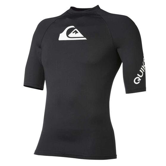 Quiksilver Mens All Time Short Sleeve Rash Vest, Black, rebel_hi-res
