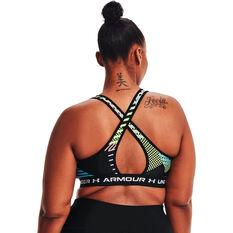 Under Armour Womens Mid Crossback Printed Sports Bra, Black, rebel_hi-res