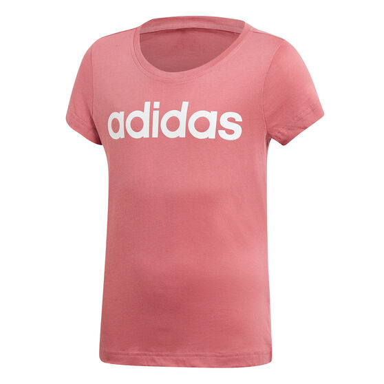 adidas Girls Essentials Linear Tee Pink 10, Pink, rebel_hi-res