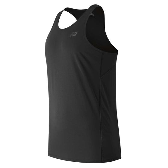 New Balance Mens Accelerate Singlet, Black, rebel_hi-res