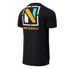 New Balance Mens R.W.T Graphic Heathertech Tee Black S, Black, rebel_hi-res