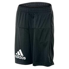 adidas Boys Gear Up Knit Shorts Black / White 6 Junior, Black / White, rebel_hi-res