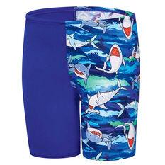 Speedo Boys Camo Shark Jammer Swim Shorts Blue 2, Blue, rebel_hi-res