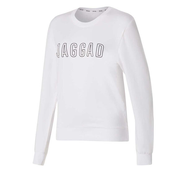 Jaggad Womens Classic Crew Neck Sweatshirt, White, rebel_hi-res
