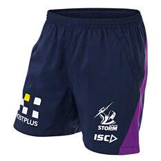 Melbourne Storm 2019 Mens Training Shorts Navy / Purple S, Navy / Purple, rebel_hi-res