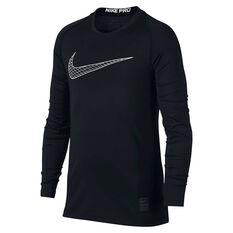 Nike Boys Pro Long Sleeve Training Tee Black / White XS, Black / White, rebel_hi-res