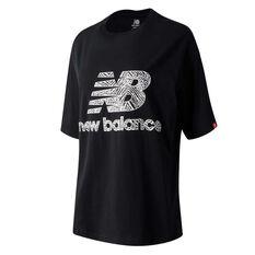 New Balance Womens Athletics Animal Print Tee, Black, rebel_hi-res