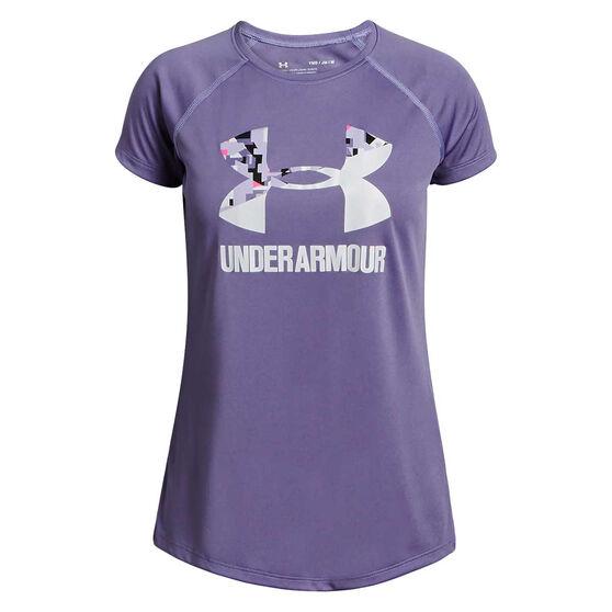 Under Armour Girls Solid Big Logo Tee Purple / White XS, Purple / White, rebel_hi-res