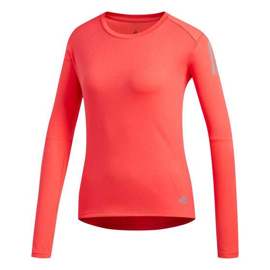 adidas Womens Own the Run Long Sleeve Tee, Red, rebel_hi-res