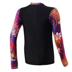 Speedo Girls Leisure Long Sleeve Rash Vest Black 6, Black, rebel_hi-res