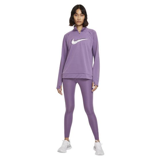 Nike Womens Dri-FIT Swoosh Run 1/2 Zip Midlayer, Purple, rebel_hi-res