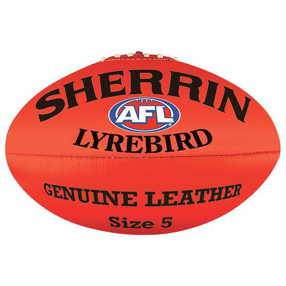 Sherrin Lyrebird Australian Rules Ball, Red, rebel_hi-res