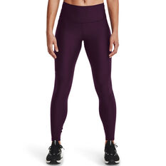 Under Armour Womens HeatGear No-Slip Waistband Full Length Tights, Purple, rebel_hi-res