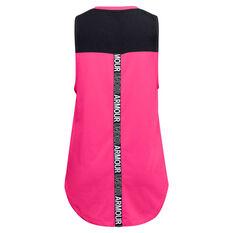 Under Armour Girls HeatGear Tank Pink/Black XS, Pink/Black, rebel_hi-res